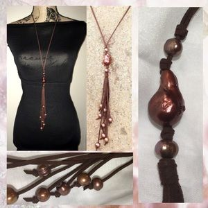 Brown Suede Fresh Water Pearl Tassel Drop Necklace